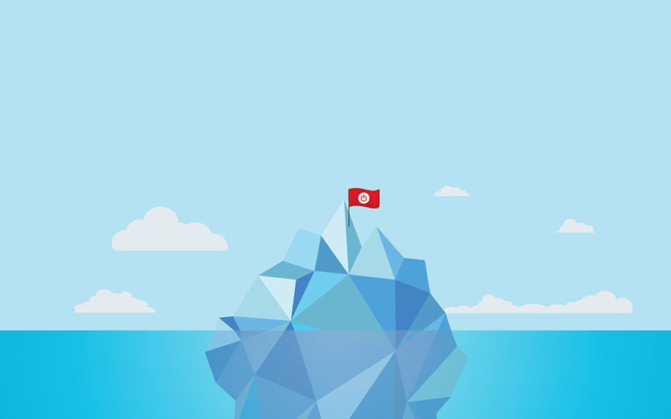 Illustration of an iceberg with a Toggl flag