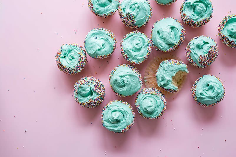 Cupcakes with blue icing