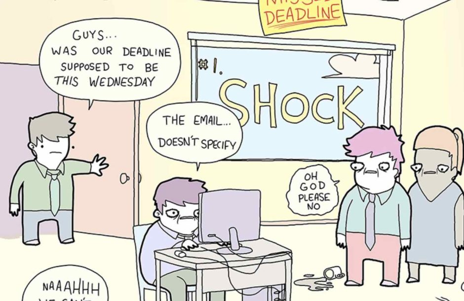 Snippet of Seven Stages of Project Deadline Comic