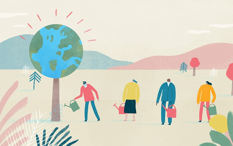 Illustration of people watering a tree that is actually a globe