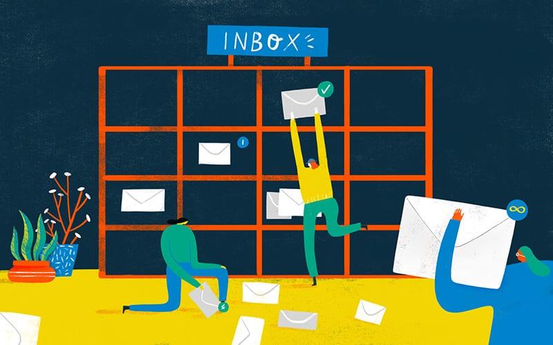 Illustration of people putting envelopes on the Inbox shelf