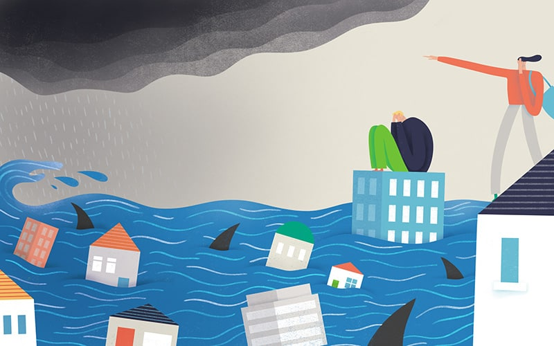 Illustration of two characters stressed out as they are stuck in a flood