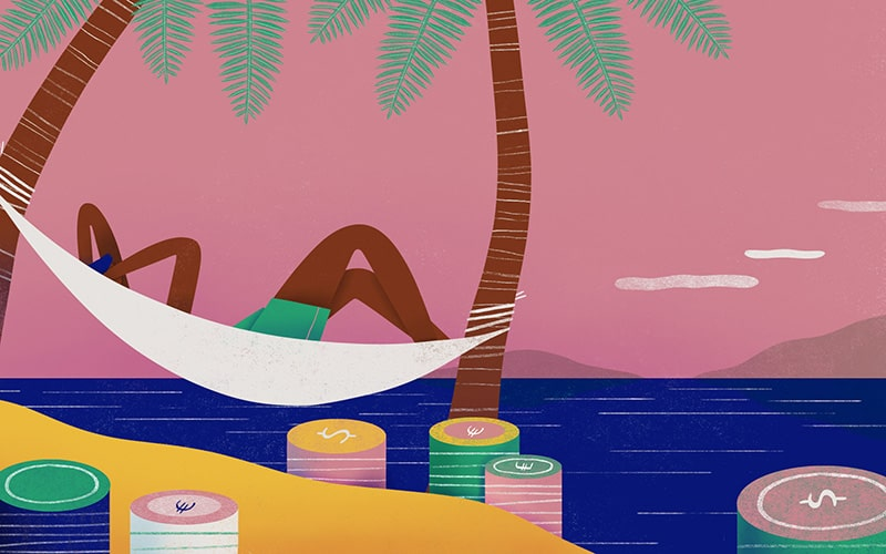 Illustration of a character relaxing on the beach