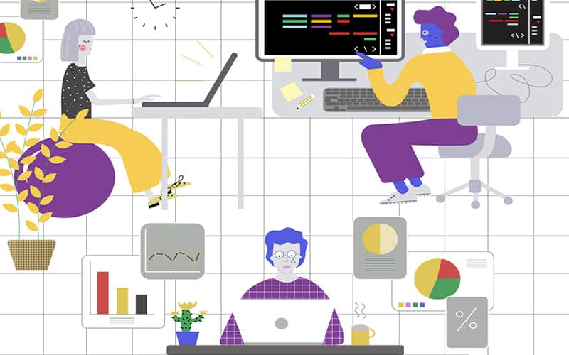 Illustration of employees in an office