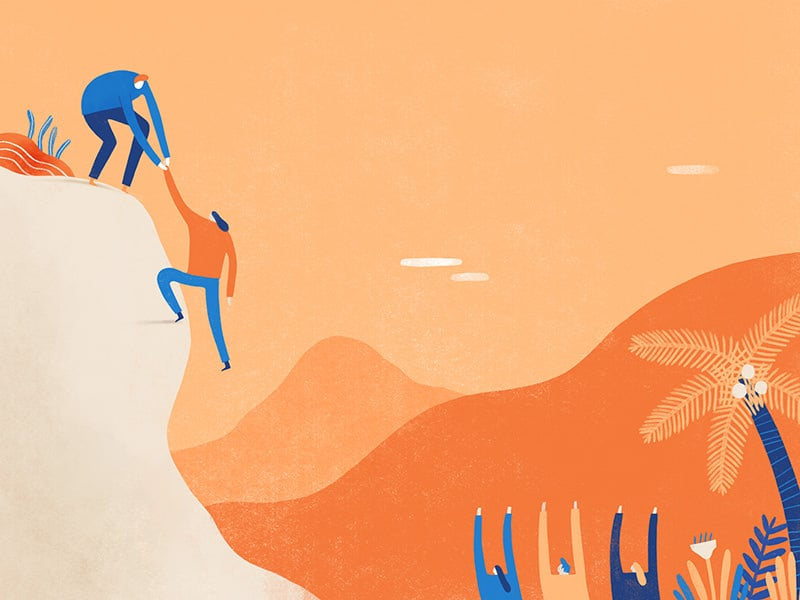 Illustration of a man helping a woman up a cliff with people cheering them on
