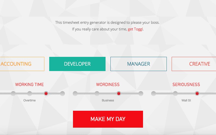 our brand new one click timesheet entry generator will make your day