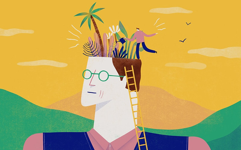 Illustration of a character having a garden in his brain