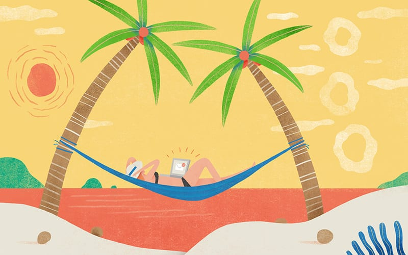 Illustration of a woman relaxing on the beach