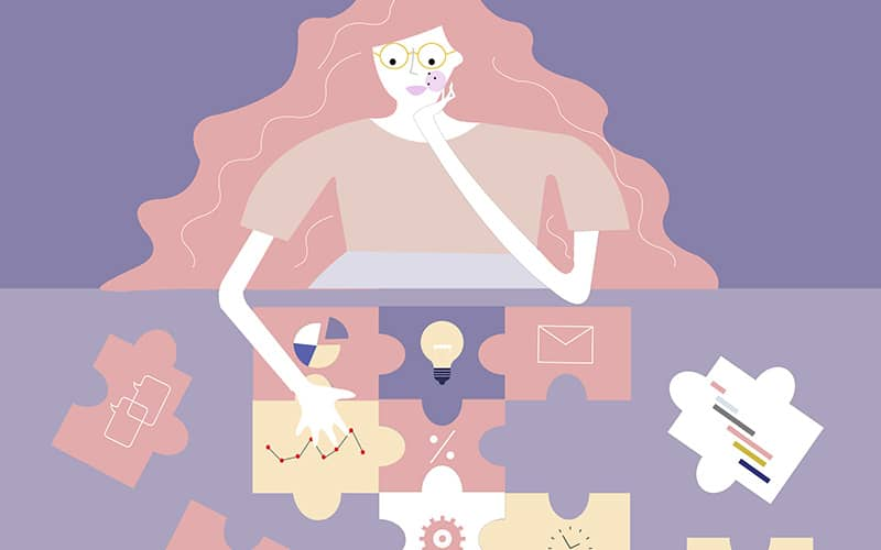An illustration of a woman putting together puzzle pieces which has business elements