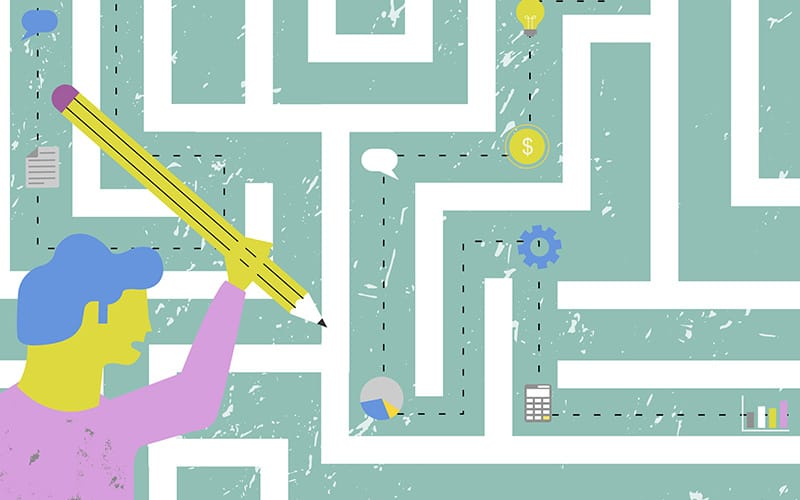 Illustration of a character penciling through a maze
