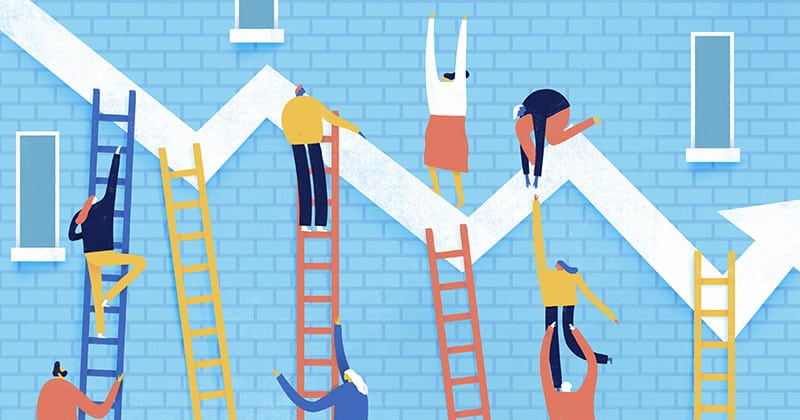 Illustration of characters climbing ladders trying to reach a line graph
