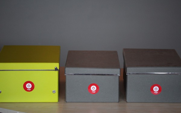 Storage boxes with the Toggl logo