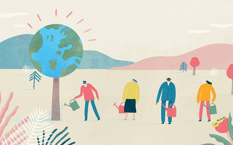 Illustration of people watering a tree, which is actually a globe