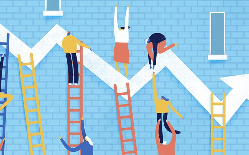 Illustration of characters climbing on ladders trying to reach a line chart