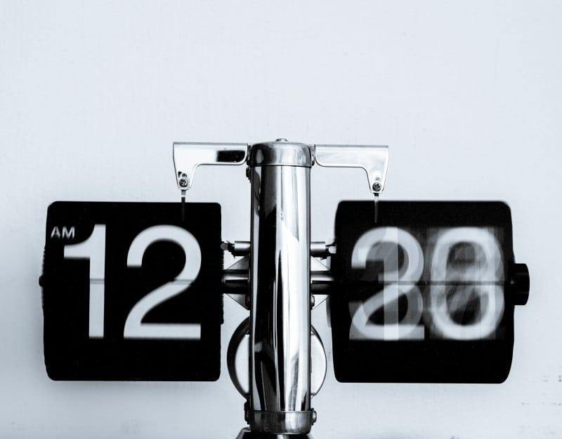 A digital clock running