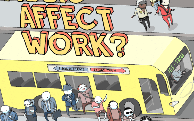 A snippet of the How Does Music Affect Work? infographic