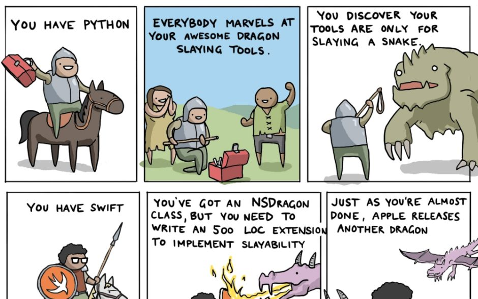 How to Kill the Dragon Using 9 Programming Languages - Toggl Comic