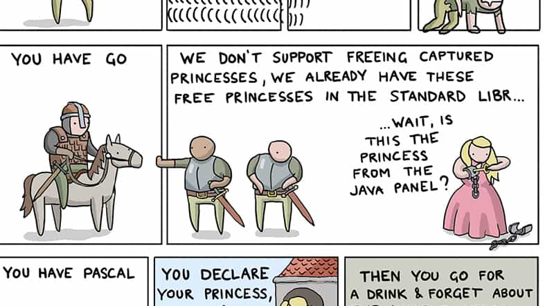 Snippet of How To Save the Princess in 8 Programming Languages Comic