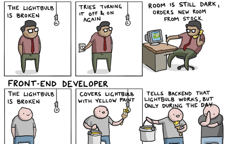 Snippet of IT Jobs Explained With A Broken Lightbulb comic