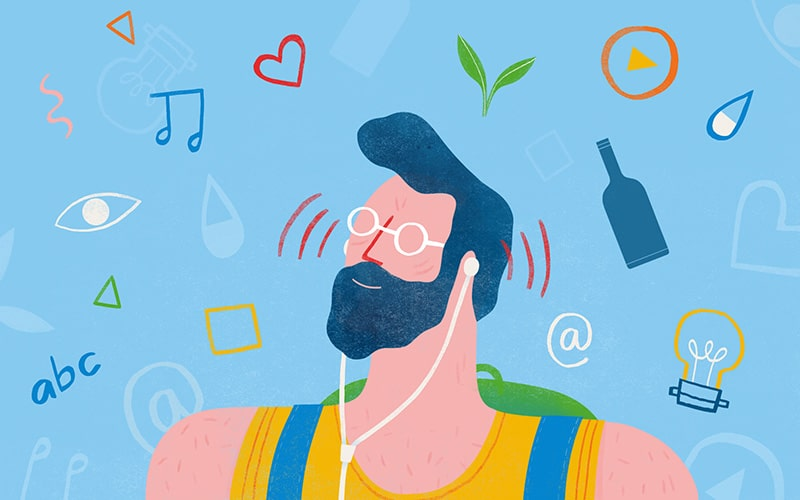Illustration of a man listening with earphones