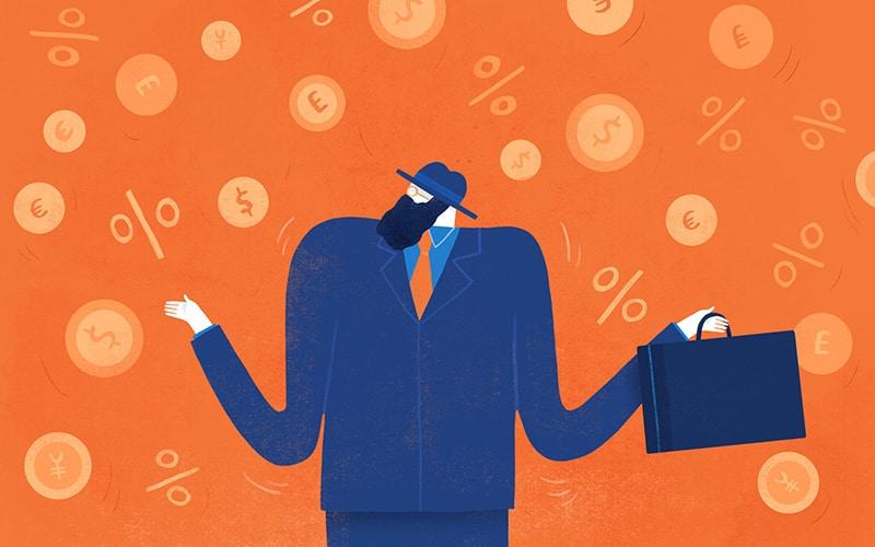 Illustration of a businessman with money symbols around him