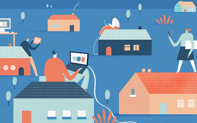 Illustration of people working at their respective homes
