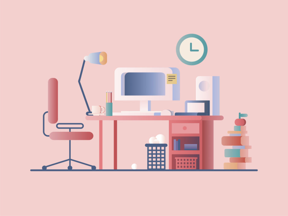 Illustration of an office workspace
