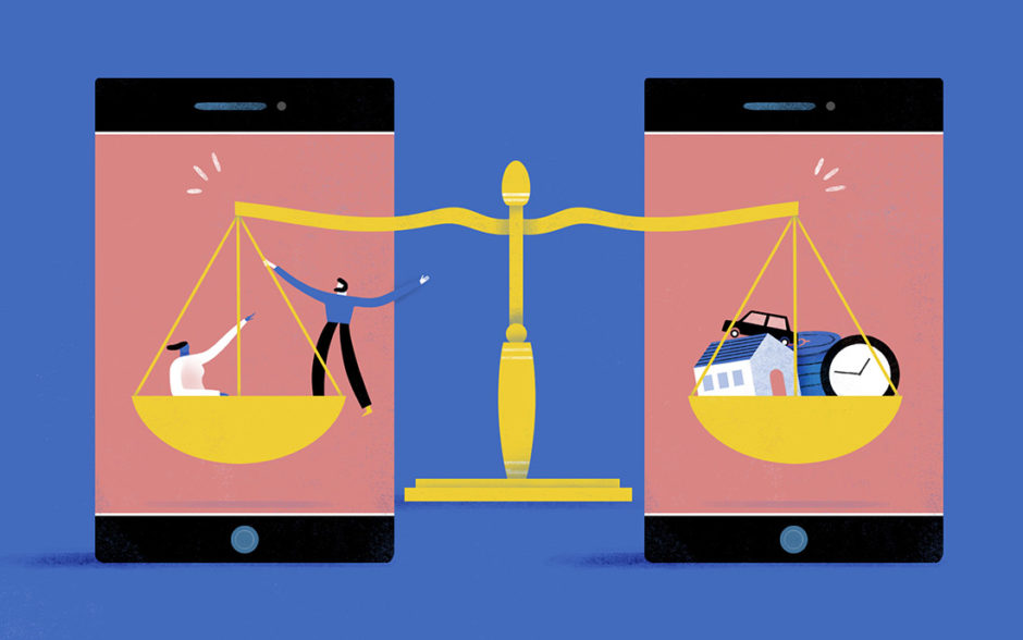 Illustration of a scale balancing two people and materialiscit items