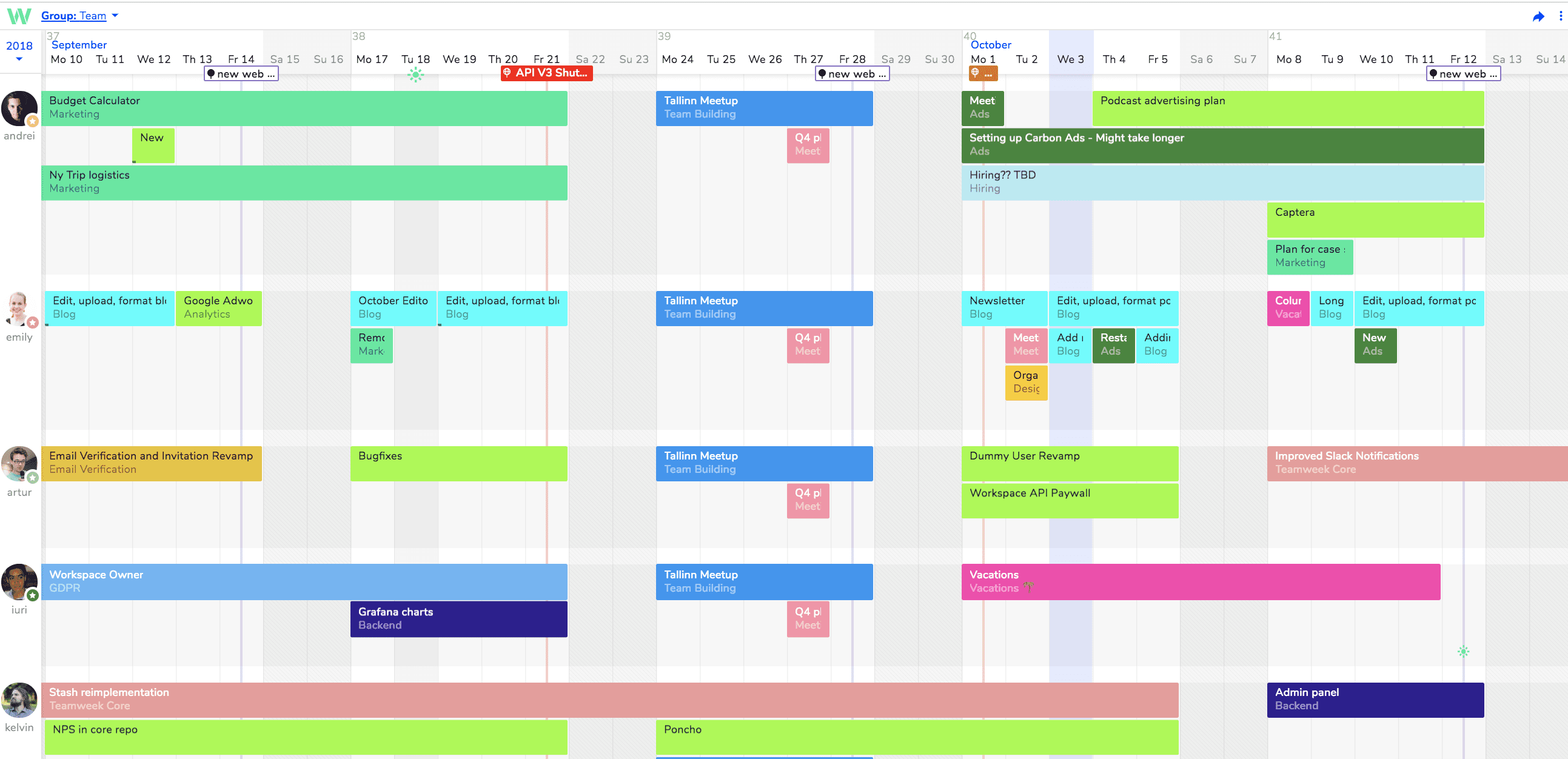 scheduling apps teamweek