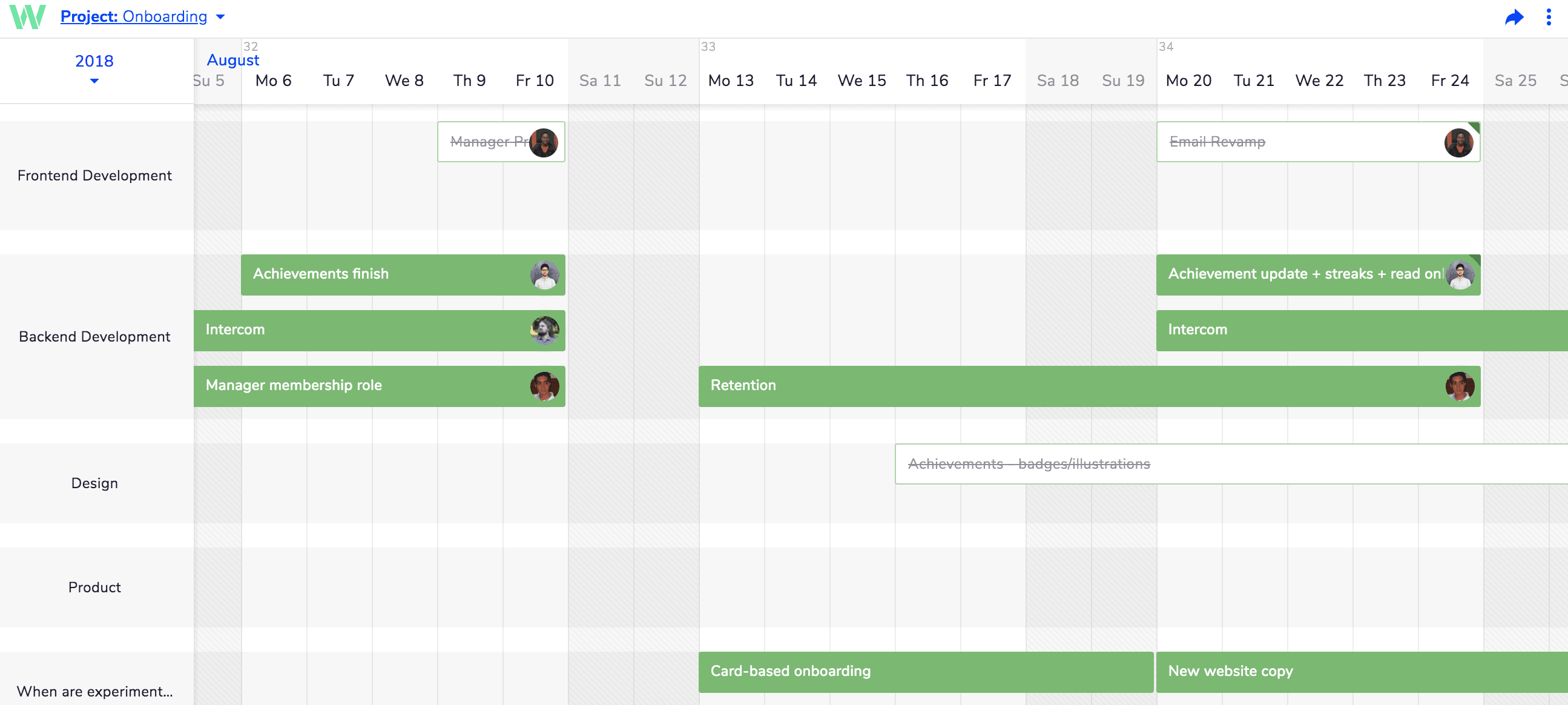 project planning with Teamweek project view