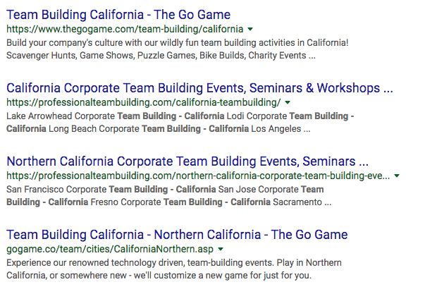 Screenshot of Google results for