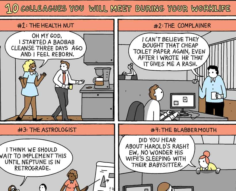 Snippet of 10 Colleagues You'll Meet During Your Work Life comic