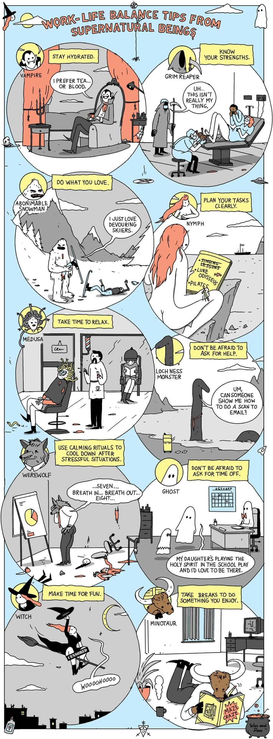 Work-Life Balance Tips From Supernatural Beings comic
