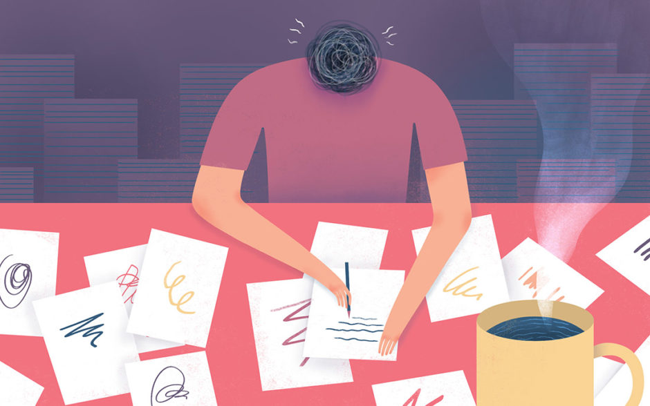Illustration of a man writing