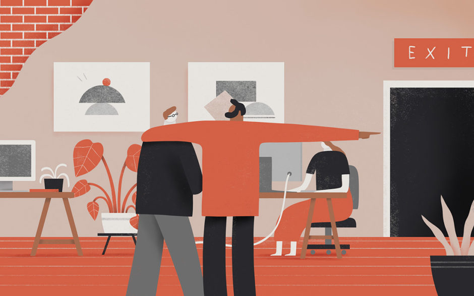 Illustration of people talking in an office