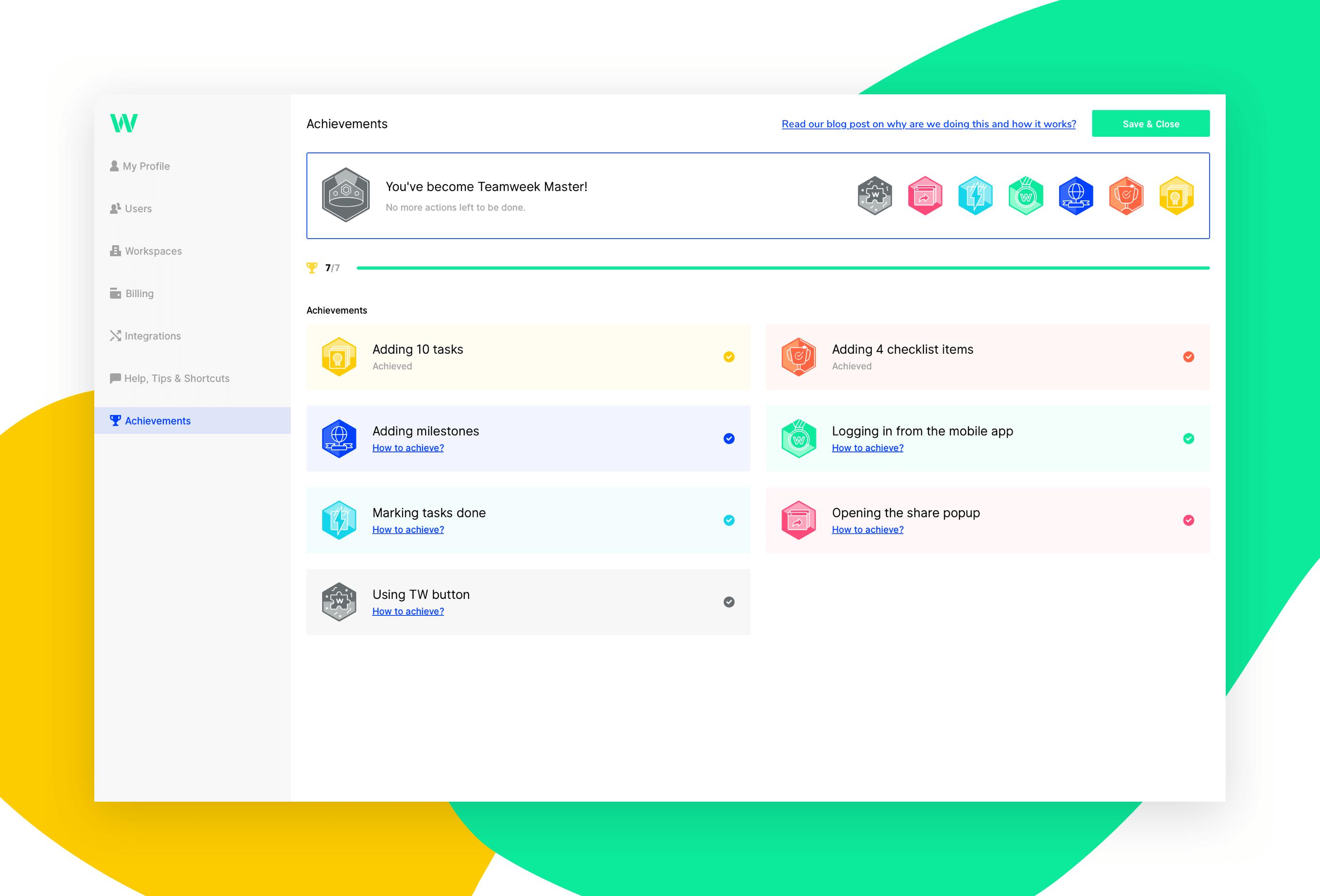Teamweek achievements