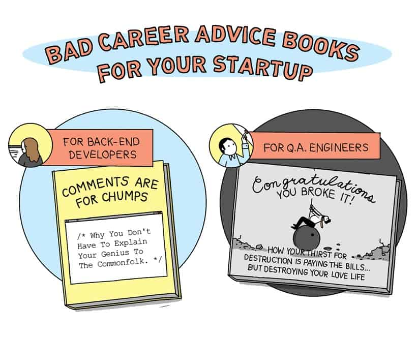 Snippet of Bad Career Advice Books For Your Startup comic