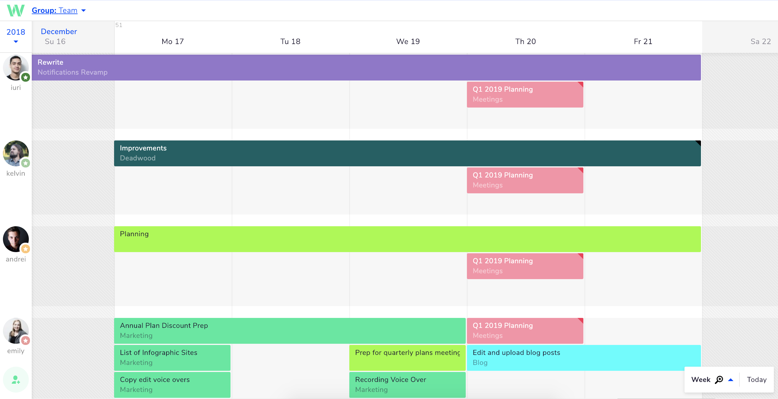 Add a business meeting to everyone's timeline in Teamweek.