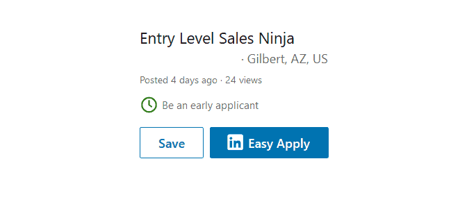 Entry Level Sales Ninja Job Ad
