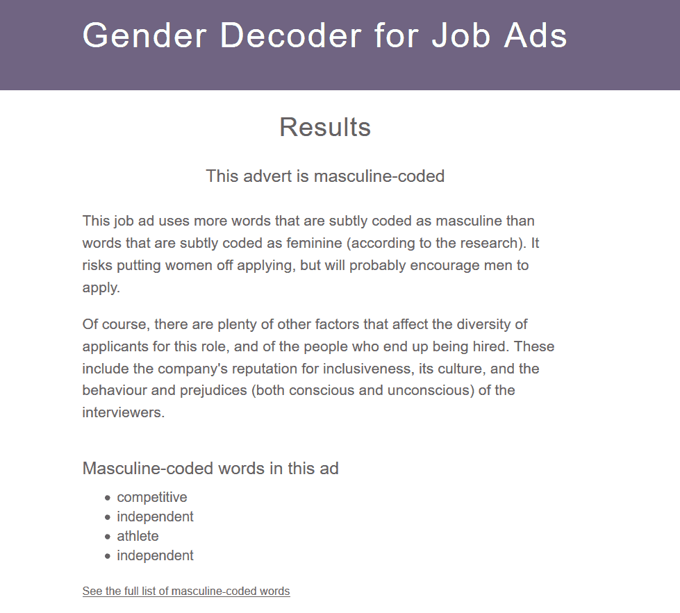 Gender Decoder