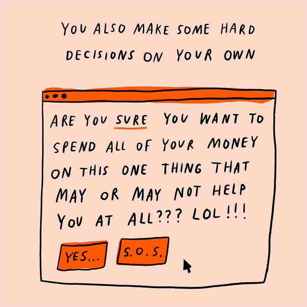 Illustration of making hard decisions