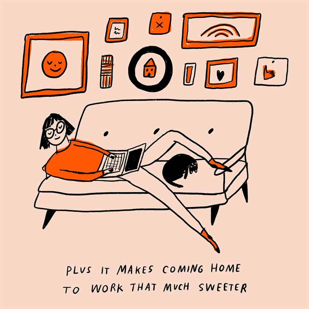 Illustration of a woman chilling on the couch with her cat
