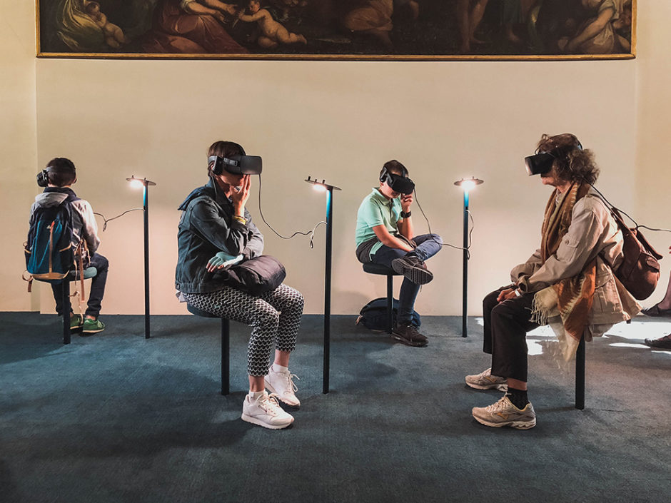 people wearing vr headsets