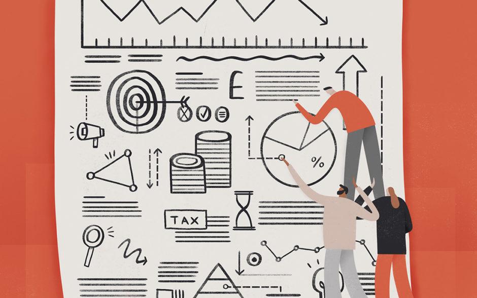 Illustration of characters looking at charts