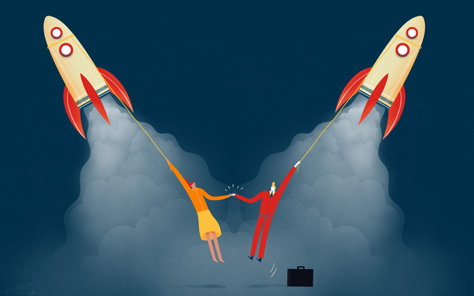 Illustration of two characters hanging on to rockets