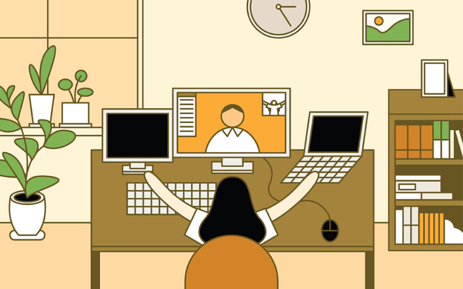 Illustration of a woman attending a video interview