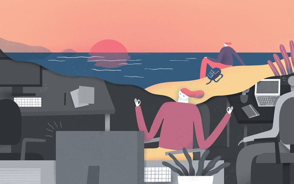Illustration of someone meditating in an office