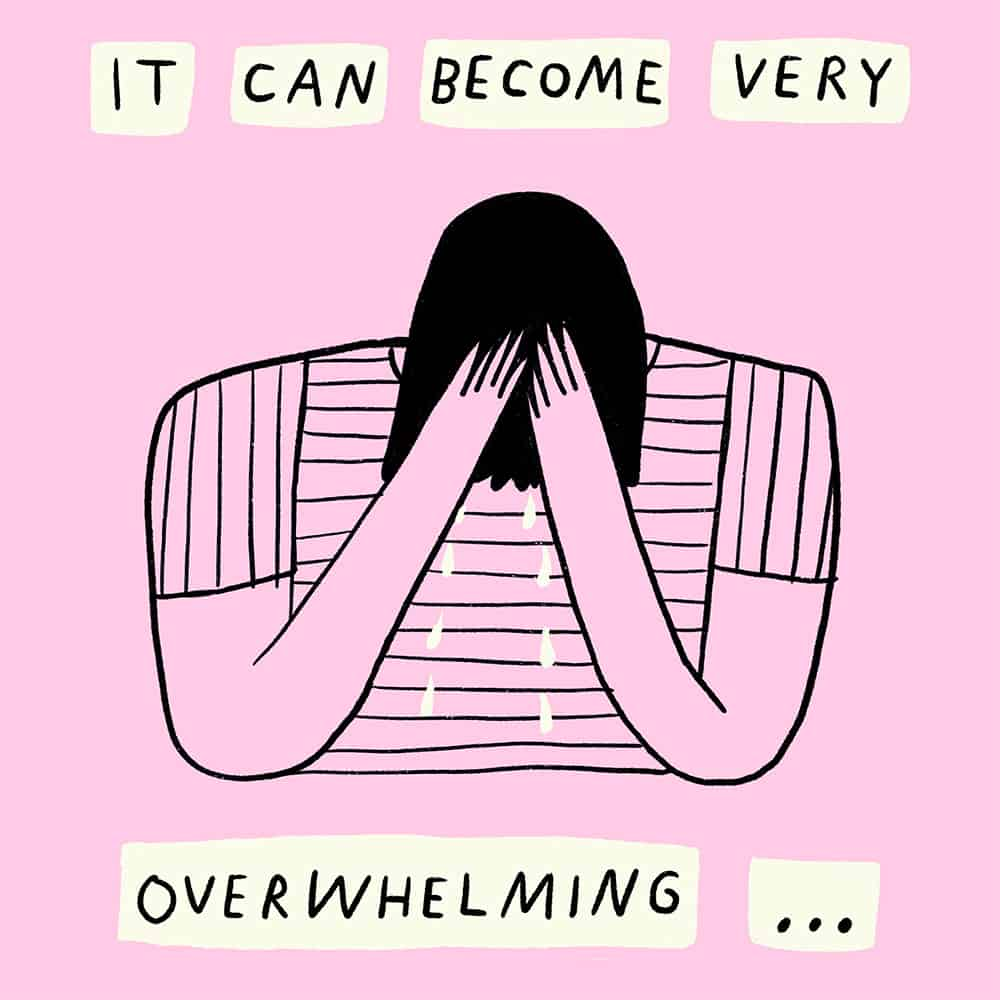 Illustration of a character being overwhelmed