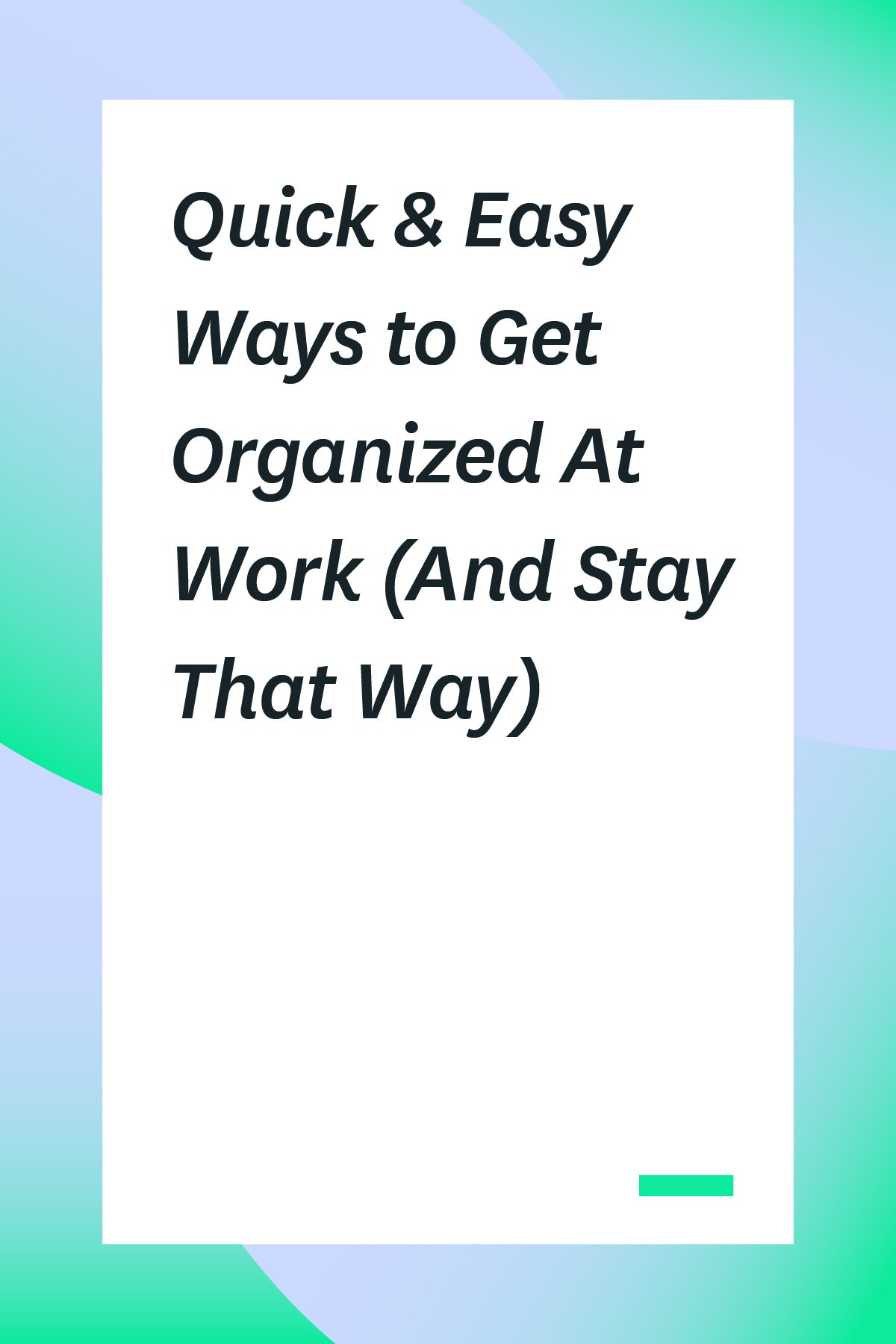Getting organized at work has many benefits: improved productivity, professionalism, and job satisfaction being a few. Click through to read some tips on how to get organized at work. #organization #organized