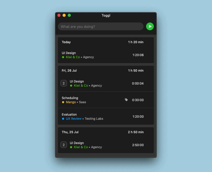 Toggl Desktop Mac app - dark mode
